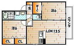 ラフィ−ネ水巻A棟[2階]の間取り