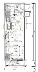 クレイシア秋葉原ラグゼスウィート 9階1DKの間取り