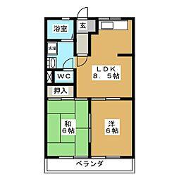アメニティパークカワセ A[2階]の間取り