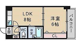 大阪府大阪市西区北堀江2-の賃貸マンションの間取り