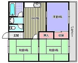 コーポ北野[303号室]の間取り