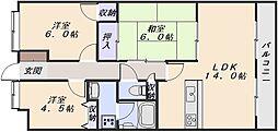 広島県広島市安佐南区高取北3丁目の賃貸マンションの間取り