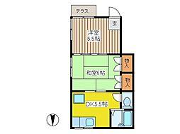 第六三上コーポ[1階]の間取り