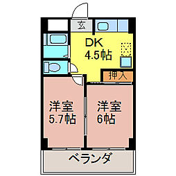 浅井第2ビル[403号室]の間取り