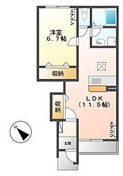 笠間市美原新築アパート[102号室号室]の間取り