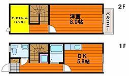 岡山県岡山市南区福島3の賃貸アパートの間取り