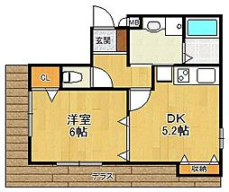 ユタカハイツ2[1階]の間取り