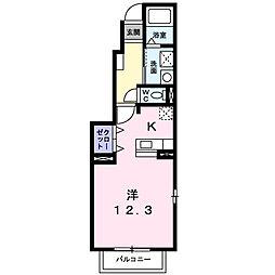 茨城県筑西市岡芹の賃貸アパートの間取り