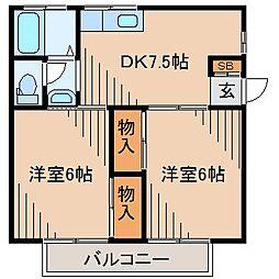 コーポ肥田[1階]の間取り
