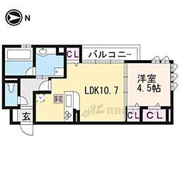 京都地下鉄東西線 東野駅 徒歩16分の賃貸アパート 1階1LDKの間取り