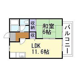 兵庫県高砂市神爪4丁目の賃貸アパートの間取り