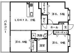 レジェンド小笹[3階]の間取り