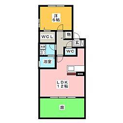 愛知県名古屋市中川区戸田西1の賃貸アパートの間取り
