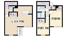 愛知県名古屋市瑞穂区亀城町5丁目の賃貸アパートの間取り