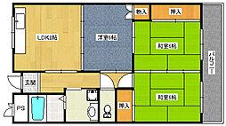 福岡県北九州市八幡西区里中3丁目の賃貸マンションの間取り