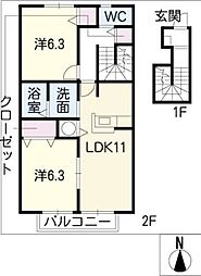 Duo Maison(南棟)[2階]の間取り