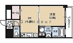 セントアミー鶴見 8階1DKの間取り