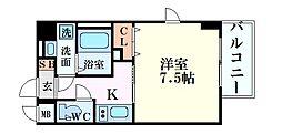 S-RESIDENCE江坂Crescent 6階1Kの間取り