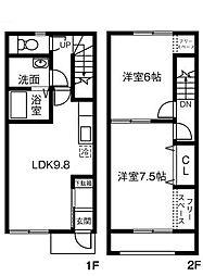 愛知県安城市桜井町下谷の賃貸アパートの間取り