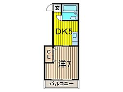 なみきコーポ[1階]の間取り