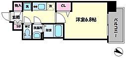 レシオス大阪城北詰 2階1Kの間取り