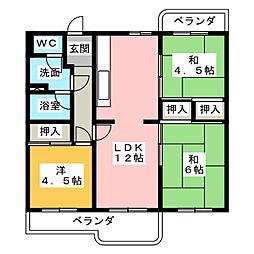 押草団地406棟 203号[2階]の間取り