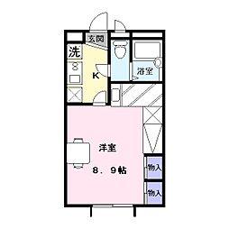 奈良県天理市指柳町の賃貸アパートの間取り