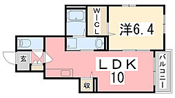 兵庫県姫路市飾磨区加茂ヨシイの賃貸アパートの間取り