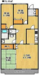 千葉県船橋市夏見台3丁目の賃貸マンションの間取り