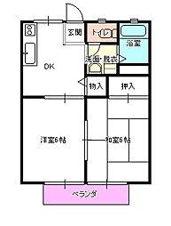 茨城県水戸市笠原町の賃貸アパートの間取り