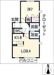 サンパティーク代栄[2階]の間取り