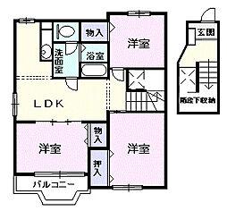 愛知県名古屋市守山区桔梗平2の賃貸アパートの間取り