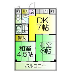 浜寺イーストパークマンション[2階]の間取り