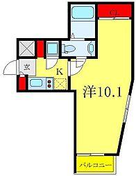 ビバリーホームズ下赤塚 4階1Kの間取り