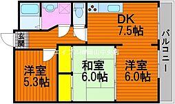 岡山県岡山市中区国富丁目なしの賃貸マンションの間取り