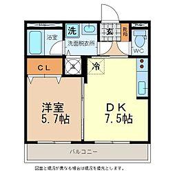 Royal・Stage佐久平 1階1DKの間取り