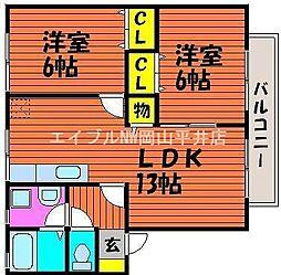 岡山県岡山市東区益野町の賃貸アパートの間取り