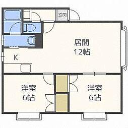 コニパルA[2階]の間取り