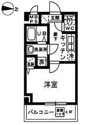 YAMATE 6階1Kの間取り