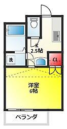 ベイシティ松戸小山 II[202号室]の間取り