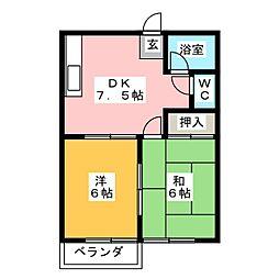サンハイツ山田B[1階]の間取り
