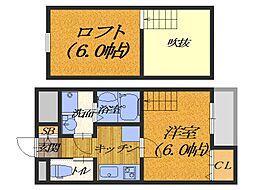 大阪府堺市北区北花田町3丁の賃貸アパートの間取り