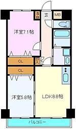 JR仙山線 東照宮駅 徒歩4分の賃貸マンション 6階2LDKの間取り