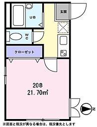 東京都日野市日野本町2丁目の賃貸アパートの間取り