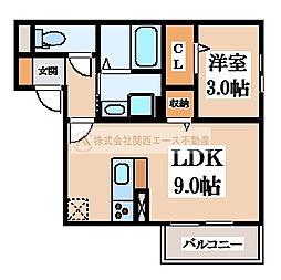 大阪府堺市北区百舌鳥赤畑町2丁の賃貸アパートの間取り