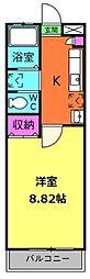 千葉県松戸市八ケ崎7丁目の賃貸アパートの間取り
