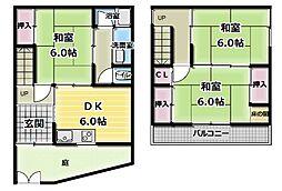 [一戸建] 大阪府門真市常盤町 の賃貸【/】の間取り