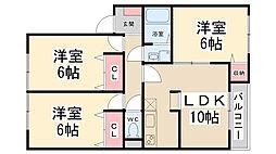 サニーハウス多田[202号室]の間取り