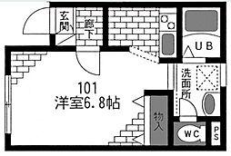 東京都大田区千鳥1丁目の賃貸アパートの間取り