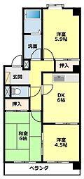 愛知県豊田市京町6丁目の賃貸マンションの間取り
